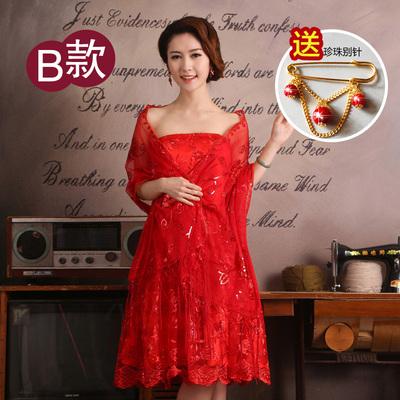 婚纱披肩女士蕾丝礼服披肩薄款新娘结婚红色披肩夏季纱巾旗袍披肩