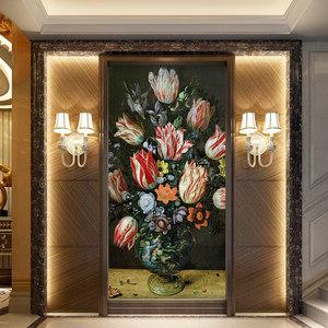 鑫雅家居大型壁画墙纸走廊客厅玄关欧式壁纸静物油画宫廷花卉定做