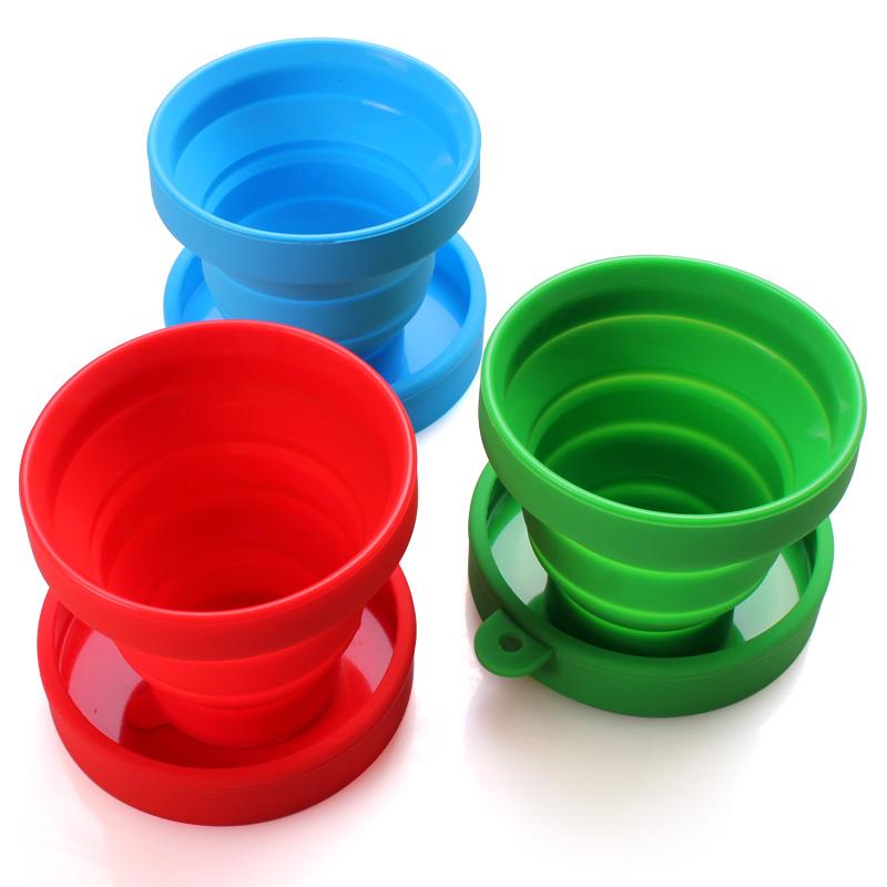 便携伸缩杯迷你水杯创意旅行杯子登山露营旅游压缩杯 硅胶折叠杯