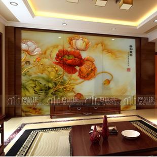 现代艺术玻璃电视背景墙屏风隔断沙发客厅家装雕花工艺国色飘香