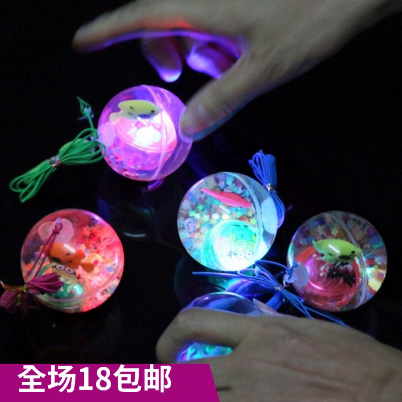 带吊绳5.5水晶弹力球  透明液体闪光热带鱼发光球 儿童玩具夜市