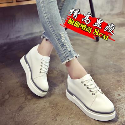 19春秋季新款厚底松糕鞋隐形内增高8cm休闲小白鞋系带韩版女鞋潮
