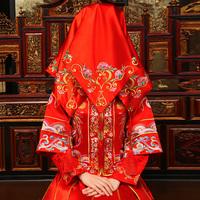 婚庆用品 新娘红盖头 结婚喜字红盖头 盖头纱 中式喜字盖头