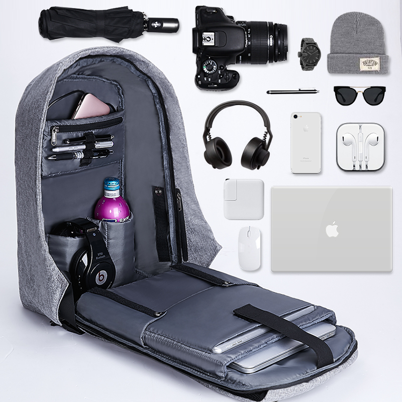 充电防盗背包15寸男女14笔记本电脑双肩包15.6/17寸商务旅行书包