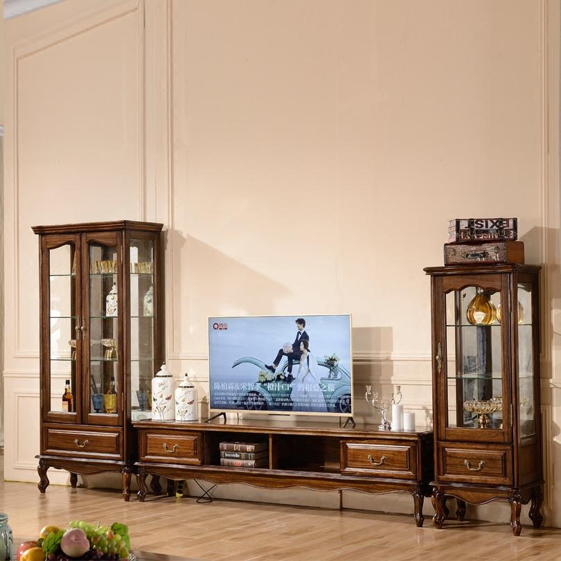 唯克美家 美式乡村复古客厅家具 全实木胡桃木电视柜储物柜地柜
