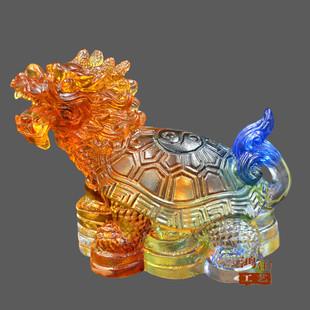 招财辟邪龙龟小摆件琉璃工艺品装饰品 家居客厅酒柜装饰风水摆设