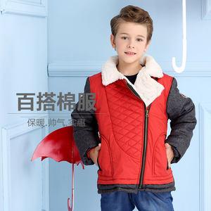 男中大童棉服 嗒嘀嗒童装秋冬装WYA0140BC 男童时尚斜拉链外