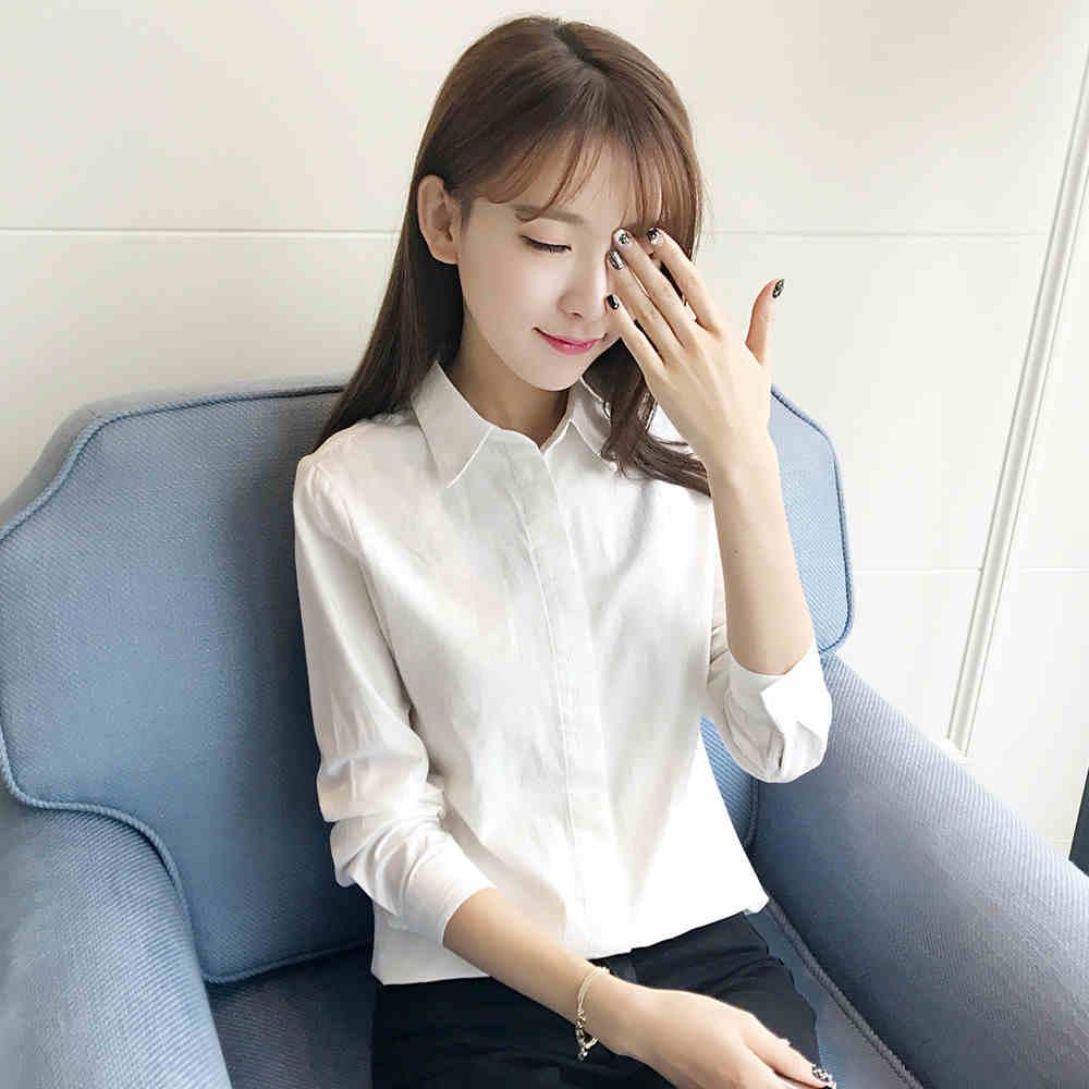 女款白色长袖衬衫