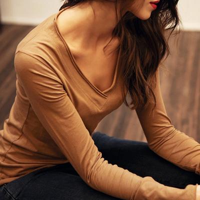 春秋新品女装棉长袖T恤女款纯色V领打底衫上衣欧美潮休闲