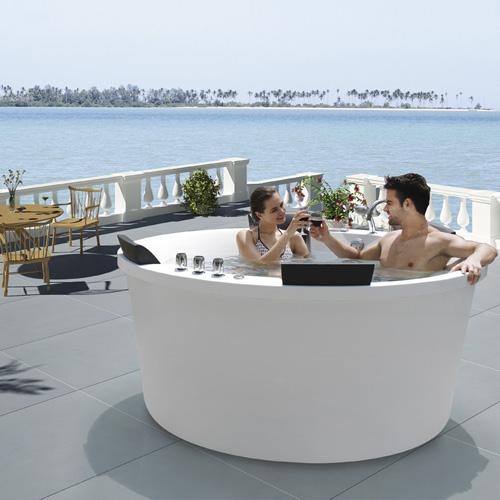 蒙娜丽莎室内外按摩浴缸 浪漫恒温spa水疗按摩浴缸 天台冲浪浴缸