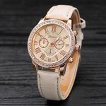 新款休闲时尚潮流欧美饰品女士手表日内瓦镶钻三眼皮带手表