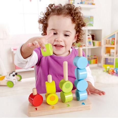 数字堆堆乐儿童玩具木制串珠宝宝启蒙益智分类智力玩具堆塔套柱