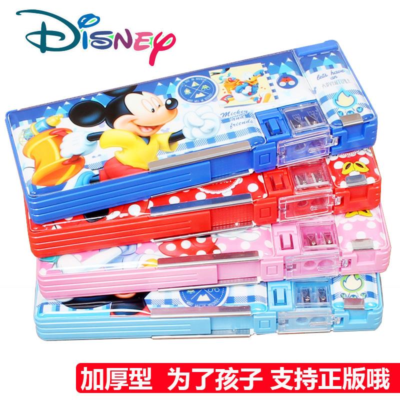 正版迪士尼多功能双开文具盒儿童小学生用铅笔盒男女款铅笔袋批发