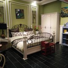 厂家直销美式乡村双人床铁艺弯花拉丝做旧1米8简约欧式白色钢木床