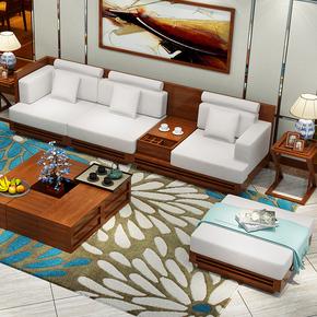 安庭居东南亚风格家具客厅实木沙发中式水曲柳实木沙发槟榔色家具