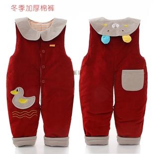 灯芯绒女宝宝背带棉裤加厚冬季纯棉0-1一2岁婴幼儿童连体棉裤开裆