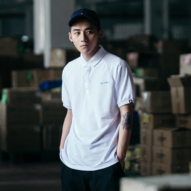 BDCT自制 纯色潮牌POLO衫男短袖2019夏天港风宽松有领翻领潮男T恤