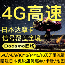 日本电话卡(全程高速4G)进口DOCOMO达摩上网卡不限流量手机卡