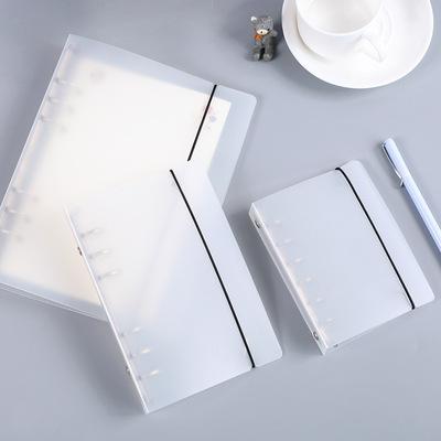本木/透明磨砂活页夹外壳 简约学生文具绑带笔记本子B5 A5 A6 A7