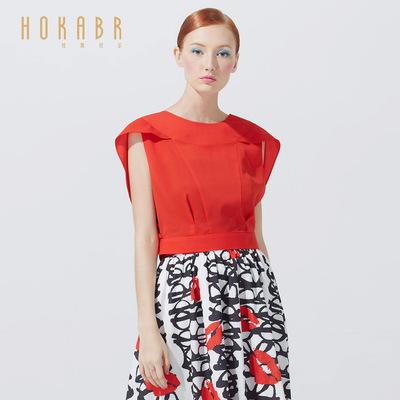 红凯贝尔夏装新款韩版女装纯色无袖上衣两件套蕾丝裹胸雪纺衫女