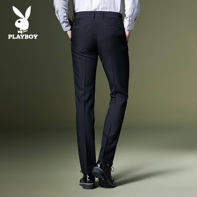 花花公子西裤男商务男士修身休闲裤子秋冬黑色正装上班加绒免烫款