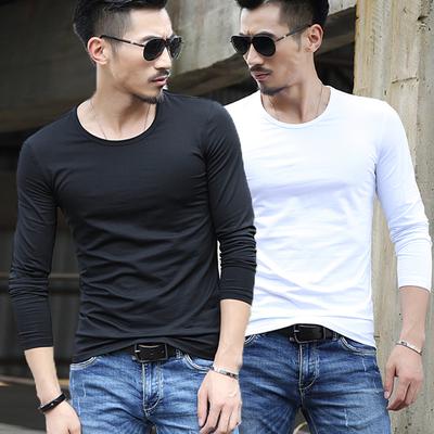 春秋季加绒男士长袖T恤圆领纯白色体恤衫修身男装紧身上衣服打底