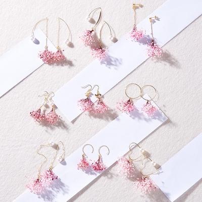 kari 原创手工甜美干花耳环超仙 森系长款耳饰粉色满天星耳线耳夹