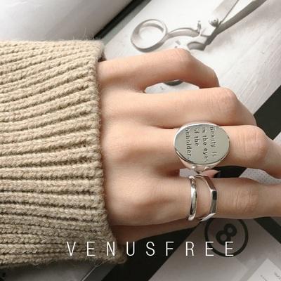 包郵 VF定制 925純銀寬版圓形簡約字母/光面拉絲銀戒指