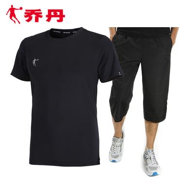 乔丹运动套装男短袖短裤夏季速干T恤七分裤健身跑步运动服两件套