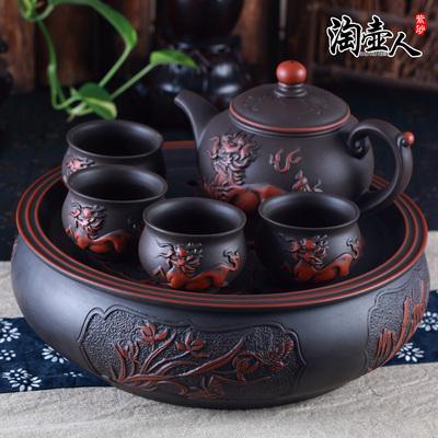 正品宜兴紫砂茶盘套装 仿古陶瓷10寸圆形储水式茶船茶托功夫茶具