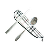 Stainless steel spoon convenient two-piece set with spoon + chopsticks + canvas bag
