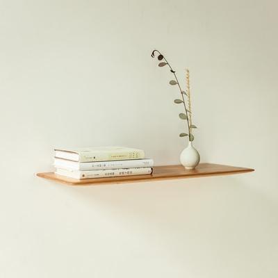元也丨原创实木家具一字隔板置物架黑胡桃北欧日式墙上隐形搁板