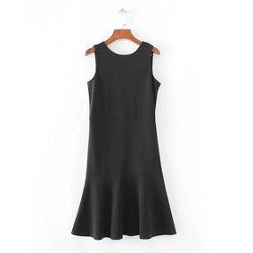 外贸原单大牌出口欧美风剪标真品尾单纯色后背拉链鱼尾背心连衣裙