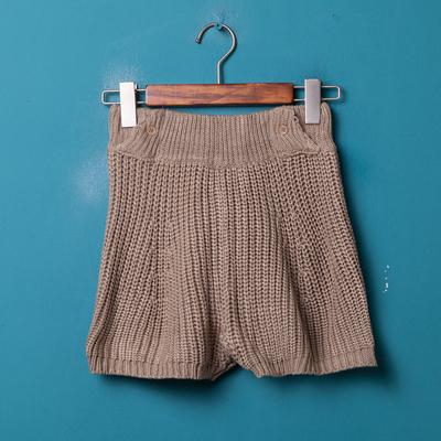 条纹松紧针织休闲毛线短裤女裤竖裤短裤针裤直筒休闲休闲直筒裤