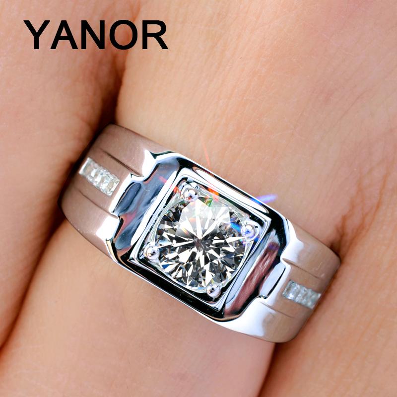 YANOR 男士钻石戒指男 霸气时尚仿真钻戒男925银镀白金可定莫桑石图片
