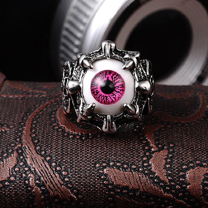 霸气钛钢戒指男士复古恶魔之眼单身食指环个性潮男生尾戒子首饰品