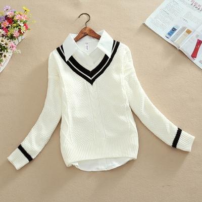 2019春秋新款韩版衬衫两件套厚毛衣少女冬学生长款打底针织衫外套