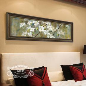 卡农酒店配画 美式横向长条幅有框画 客厅卧室床头挂画欧美画芯