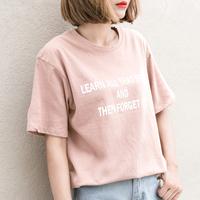 孜索2018夏季新款宽松圆领简约字母印花短袖T恤粉色韩范体恤潮女