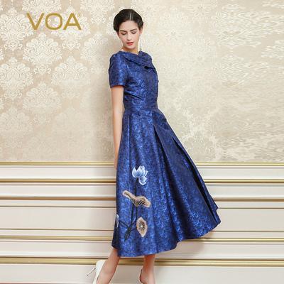 VOA重磅丝绸深蓝海军领短袖中腰褶皱荷叶绣花光泽礼服连衣裙