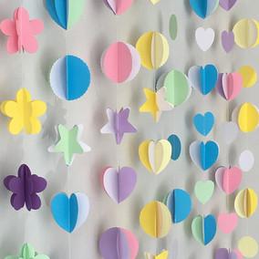 爱心纸串商场装饰拉花纸片串幼儿园会场立体长条拉串五角星纸蝴蝶