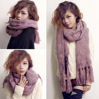 韩版秋冬季撞色毛线围巾披肩两用加长保暖针织围脖女士脖套加厚款
