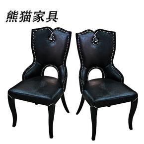 黑色椅子餐厅欧式实木餐椅座椅酒店椅简约PU皮餐椅时尚餐椅子座椅