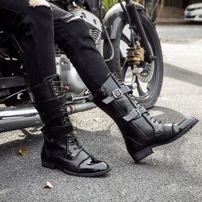冬季尖头高筒韩版男靴高筒潮靴加绒马丁靴长靴皮靴时尚马靴军靴潮