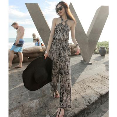 波西米亚性感豹纹露背挂脖抹胸连体裤显瘦女海边度假沙滩连衣裙裤