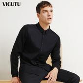 VICUTU/威可多男士长袖T恤羊毛商务休闲修身T恤衫