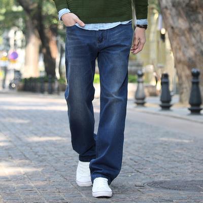 Hansca汉斯卡 牛仔裤男宽松薄款 秋季直筒阔腿裤加大码弹力长裤