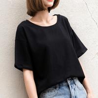 孜索夏季新款宽松纯色短袖T恤女韩版学生黑色体恤AA高腰短款上衣