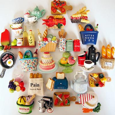 欧式创意3D立体仿真面包咖啡水果树脂家居装饰品磁性冰箱贴吸铁石性价比高吗
