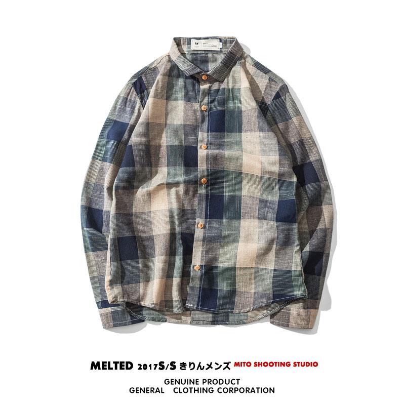 男装_彩色格子日系男装长袖衬衫5元优惠券